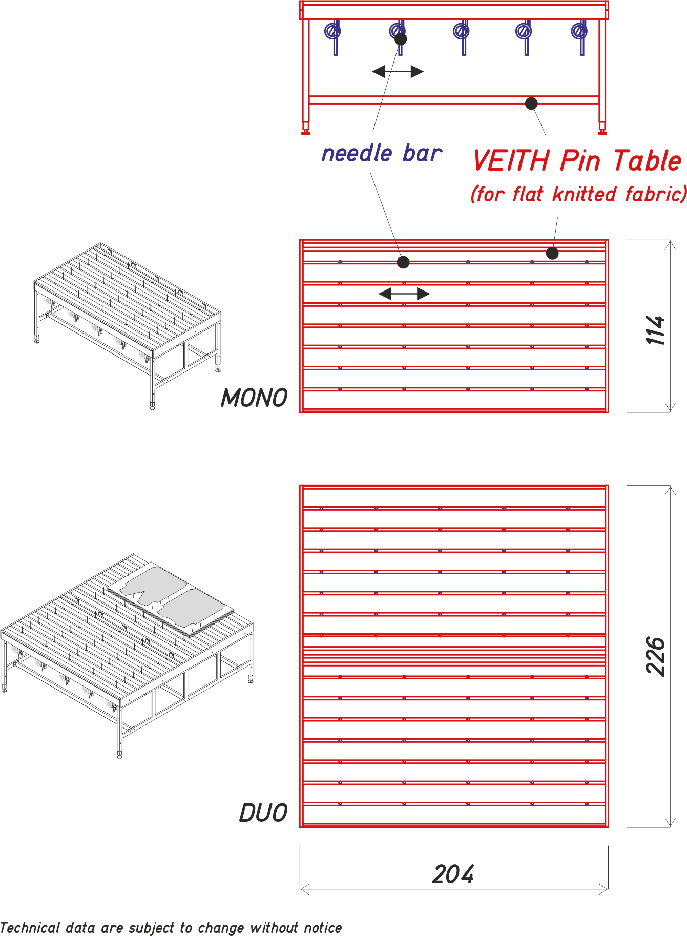 Veith Pin Table- flat knit-tech. data